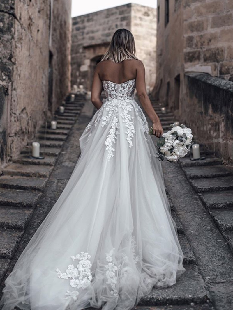 Ericdress A-Line Sweetheart Appliques Outdoor Wedding Dress