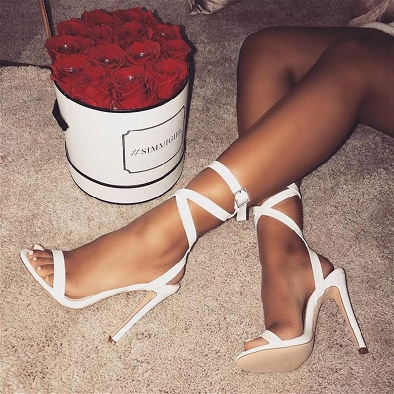 Ericdress Plain Buckle Ankle Strap Stiletto Sandals