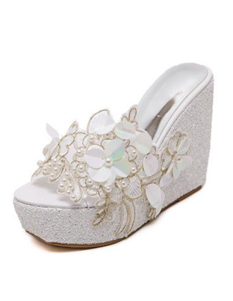 Milanoo Mules Shoes Wedge Heel Clogs Peep Toe White Pearl Flower Peep Toe PVC Clog Shoes