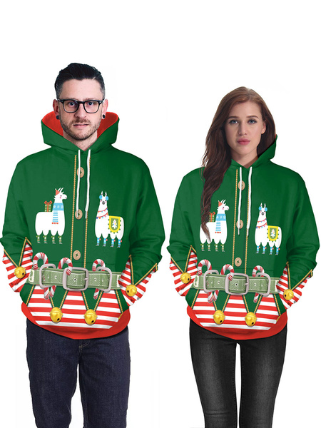 Milanoo Unisex Christmas Hoodie Christmas Pattern Long Sleeve Holiday Costumes