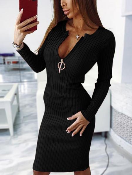 Yoins Black Round Neck Zipper Front Stripe Midi Dress