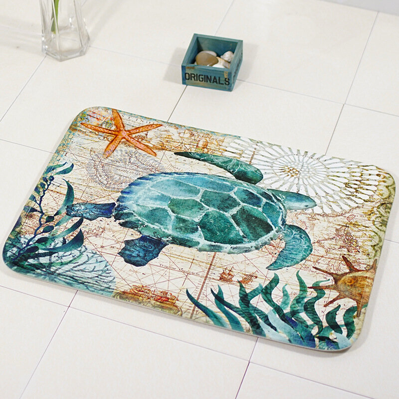 40x60cm Bathroom Anti-slip Doormat Sea Creature Soft Water Absorbent Rug