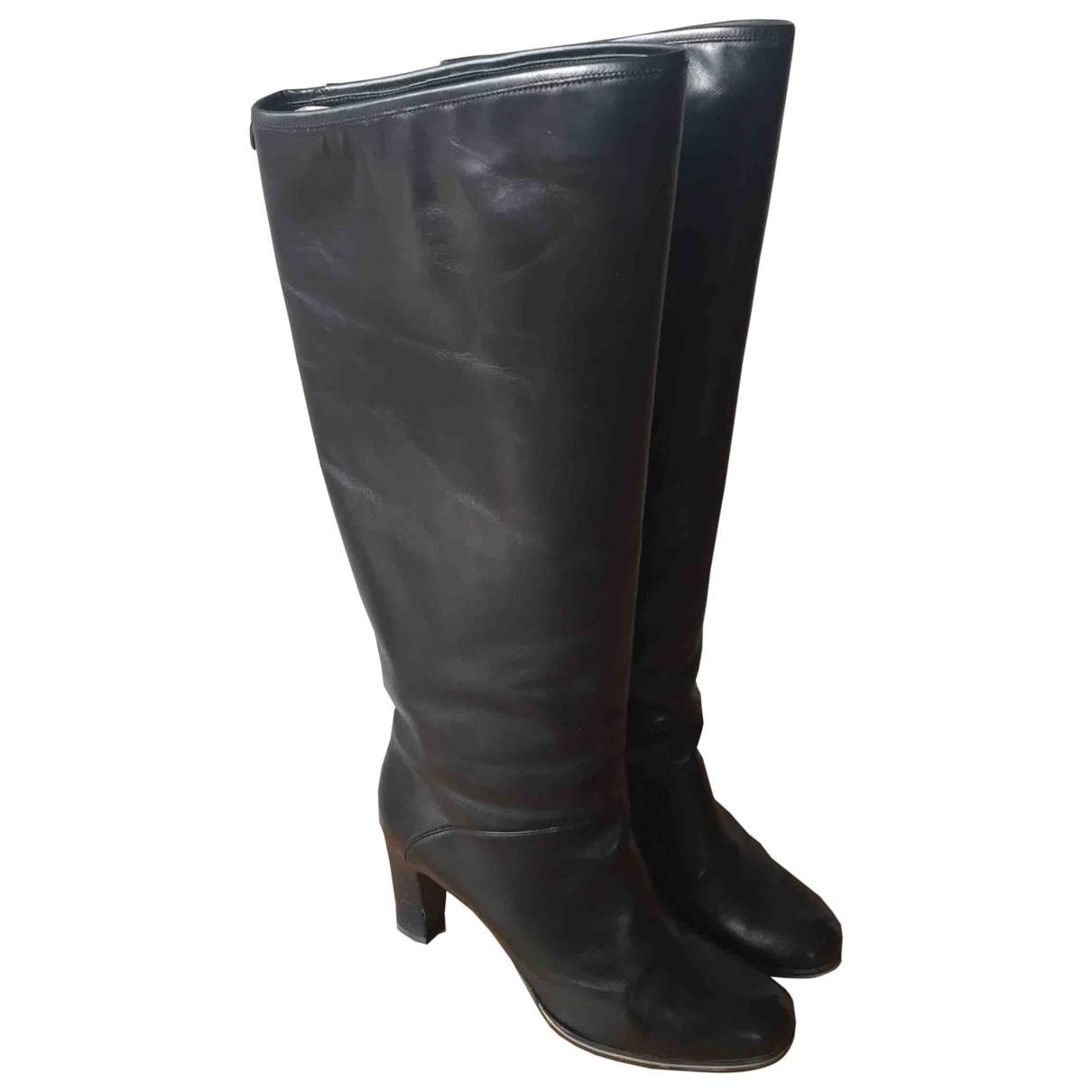 Emporio Armani \N Black Leather Boots for Women 38 EU