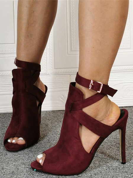 Milanoo Burgundy Summer Boots Suede Peep Toe Cut Out Ankle Strap High Heel Sandal Booties