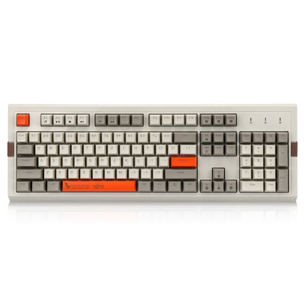 Ajazz AK510 Retro Game Wired Mechanical Keyboard 104Key PBT Ball Key Cap RGB Blue Switch - Gray + Orange