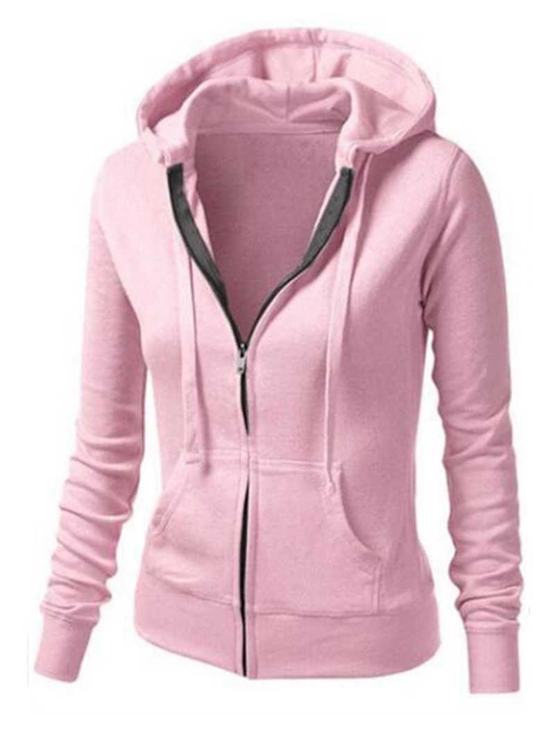 Ericdress Zipper Plain Casual Long Sleeves Cool Hoodie