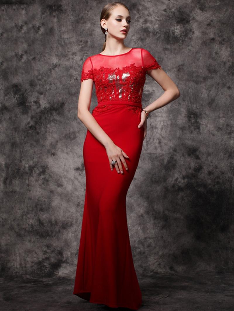 Ericdress Cap Sleeves Scoop Neck Appliques Beading Sequins Mermaid Evening Dress