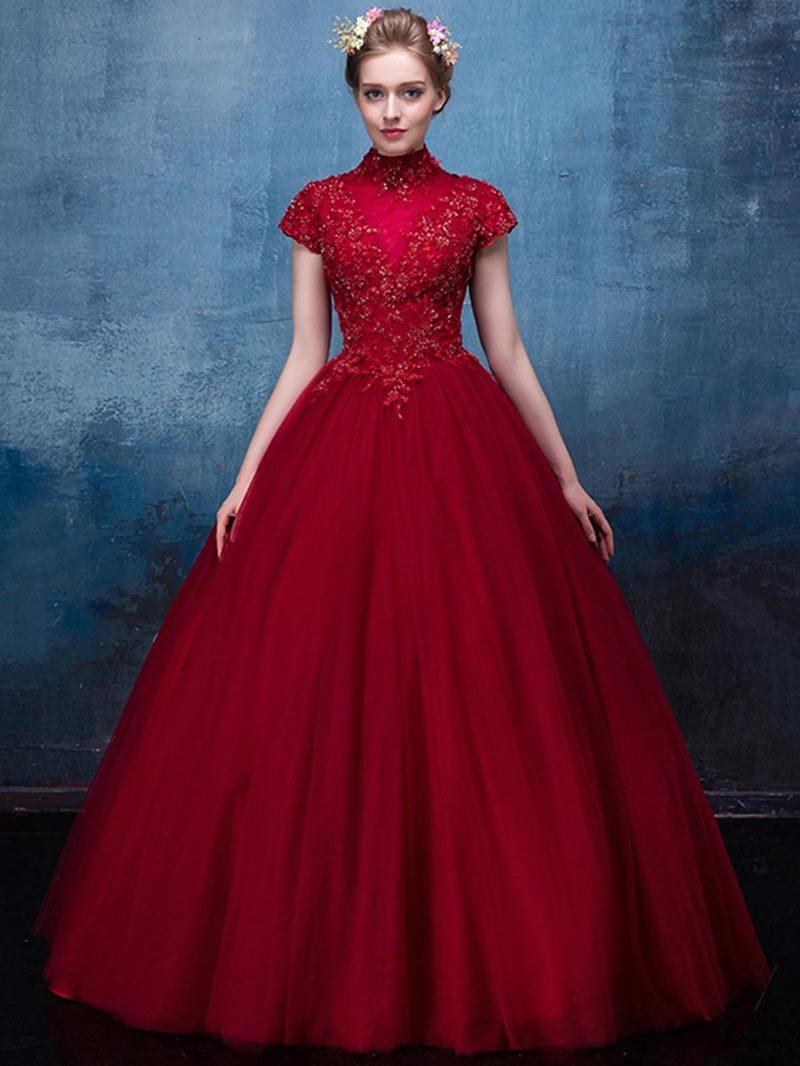 Ericdress High Neck Short Sleeve Applique Lace Beaded Ball Quinceanera Dress