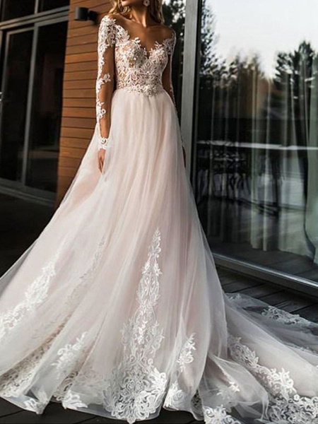 Milanoo wedding dresses 2020 a line v neck long sleeve lace applique tulle bridal gowns with chapel train