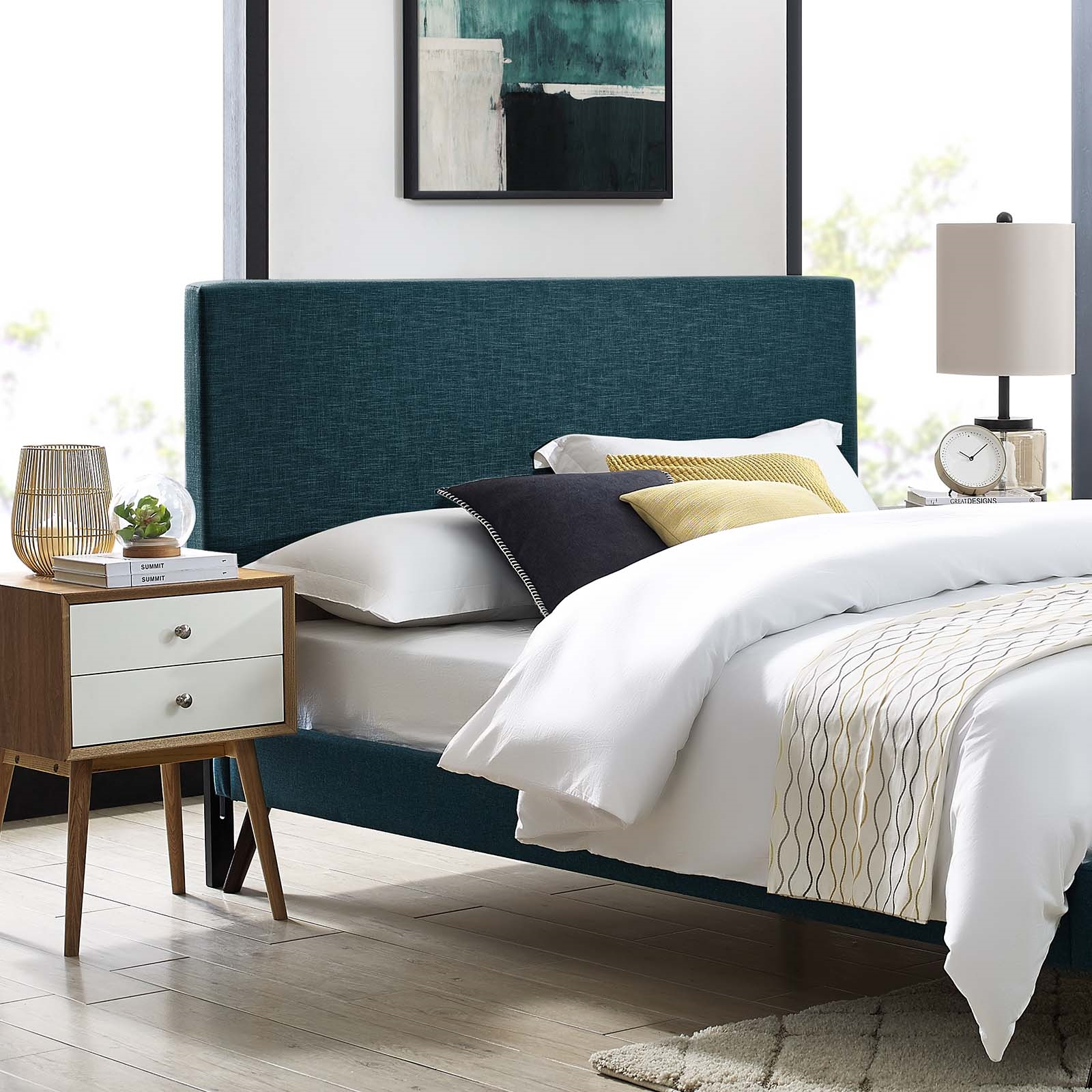 Taylor King and California King Upholstered Linen Fabric Headboard in Azure