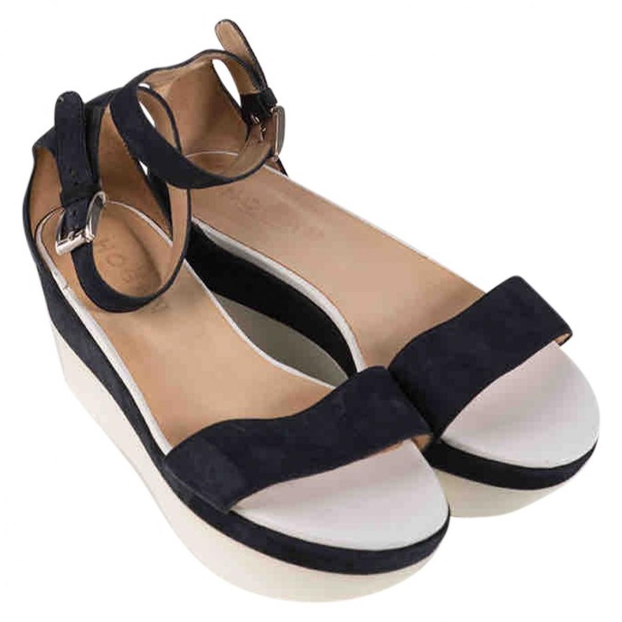 Hogan \N Blue Suede Sandals for Women 36.5 EU