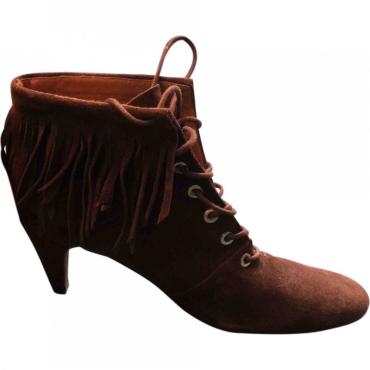 Maje \N Brown Suede Ankle boots for Women 38 EU