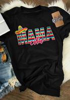 Hat Colorful Serape Striped Mamacita T-Shirt Tee - Black