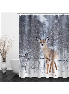Cute Little Deer 3D Printed Bathroom Waterproof Shower Curtain
