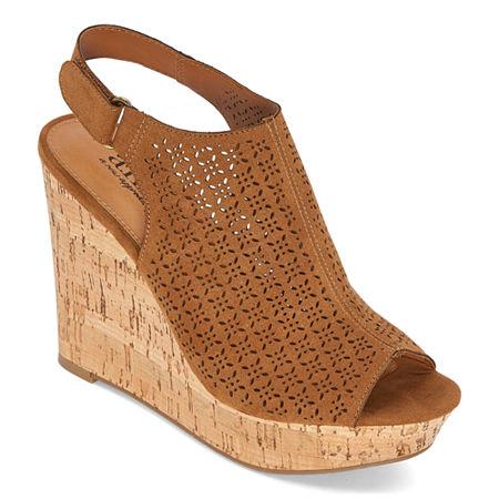 a.n.a Womens Malik Wedge Sandals, 8 1/2 Medium, Brown