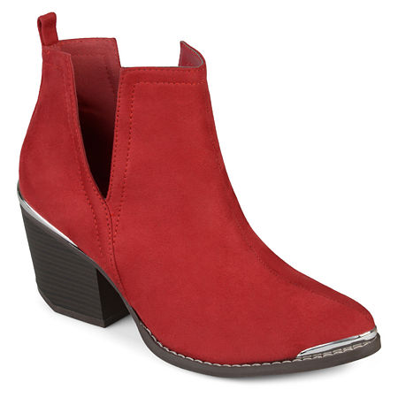 Journee Collection Womens Issla Booties Stacked Heel, 10 Medium, Red