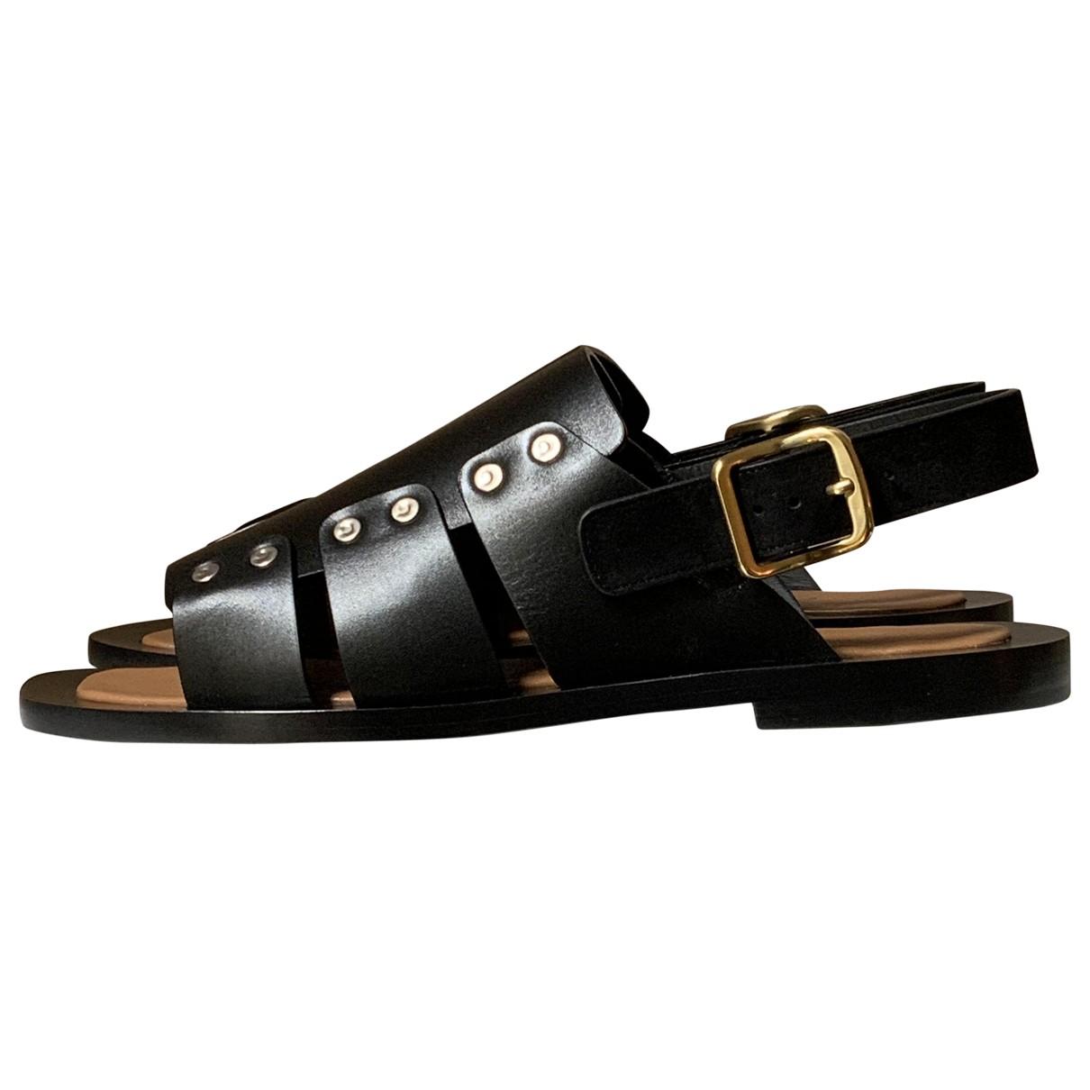 Celine \N Black Leather Sandals for Women 39 EU