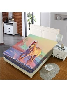 A Fantastic Galloping Horse Reactive Printing 1-Piece Polyester Bed Cover / Mattress Cover