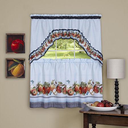 Golden Delicious 3-pc. Rod-Pocket Kitchen Curtain Set, One Size , Blue