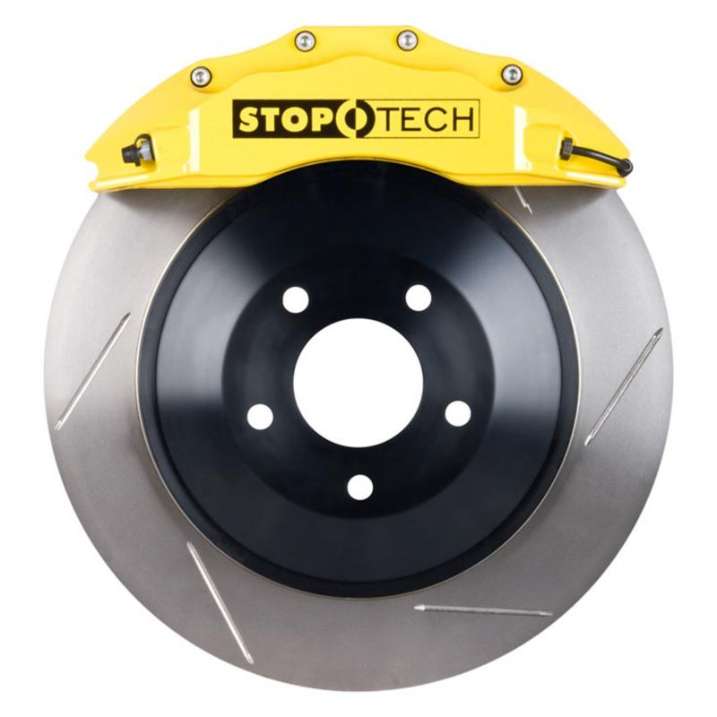 StopTech 82.243.6100.81 Big Brake Kit; Yellow Caliper; Slotted One-Piece Rotor; Front Front