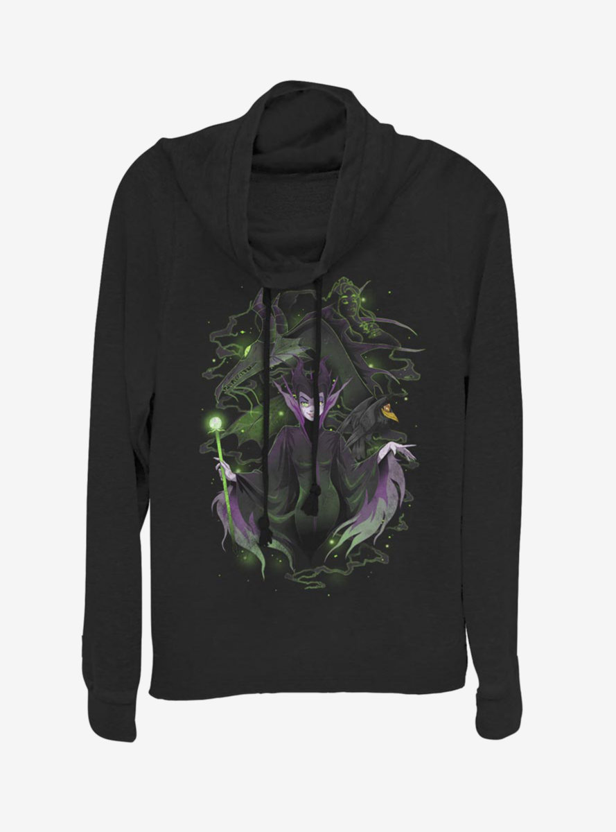 Disney Sleeping Beauty Maleficent Anime Style Cowlneck Long-Sleeve Womens Top