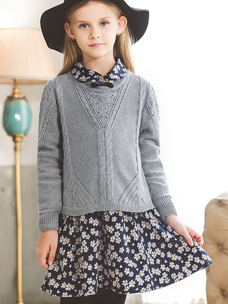 Ericdress Floral Dress Plain Sweater Girls Two-Piece Suit