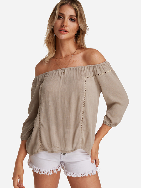Yoins Apricot Hollow Design Off The Shoulder Long Sleeves Blouse