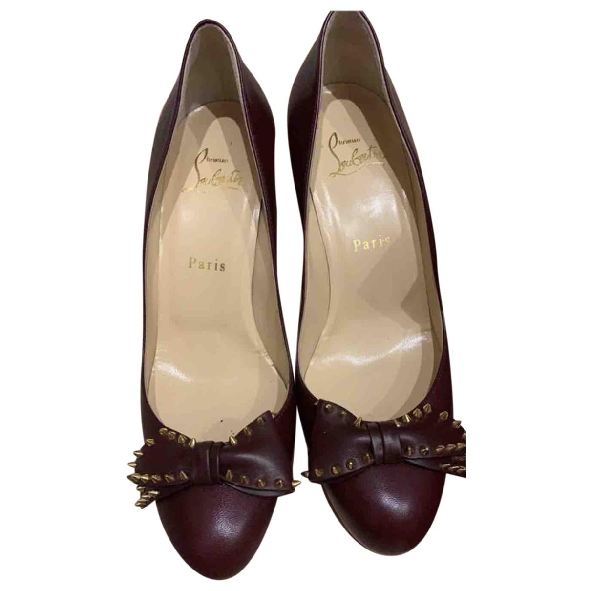 Christian Louboutin \N Burgundy Leather Heels for Women 38 EU