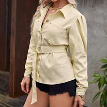 Solid Dual Pocket D-Ring Belted Jacket