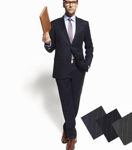Authentic Zanetti Brand 2 Button Chalk Pinstripe Super 100's Wool Suit
