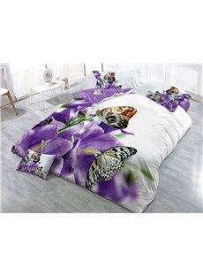 Purple Flower and Butterflies Printed 4-Piece 3D Bedding Sets/Duvet Covers