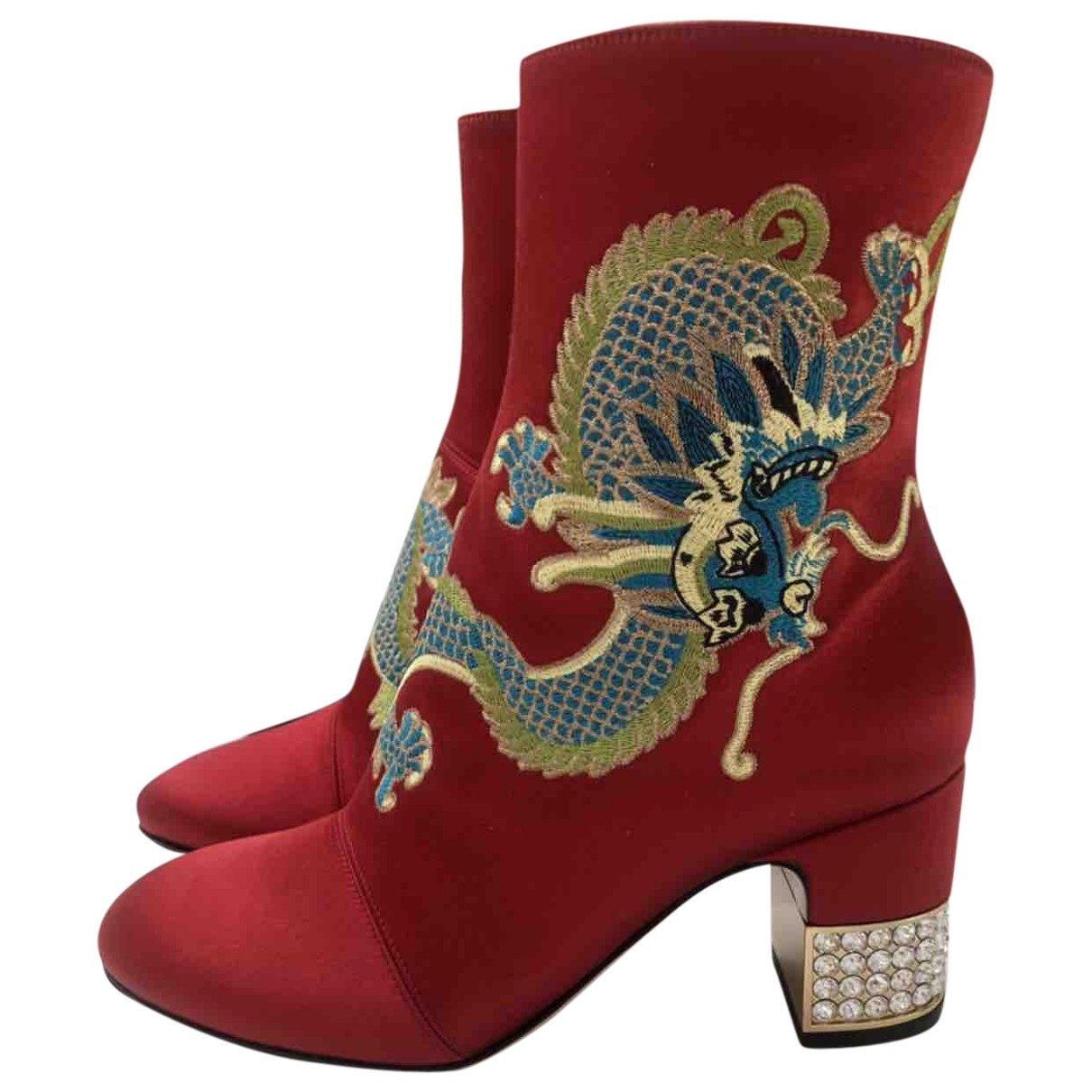 Gucci \N Red Cloth Ankle boots for Women 36 EU