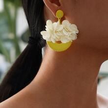 Flower Decor Round Drop Earrings 1pair