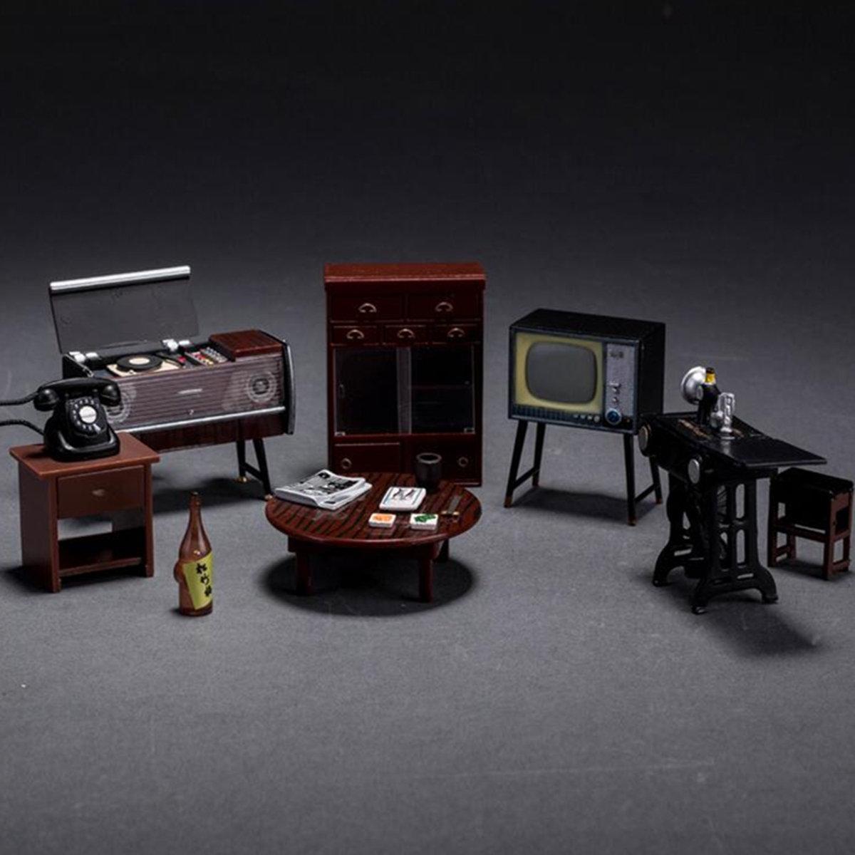 6Pcs/Set Mini Janpanese Doll House Miniature Vintage Furniture Set Home Decor