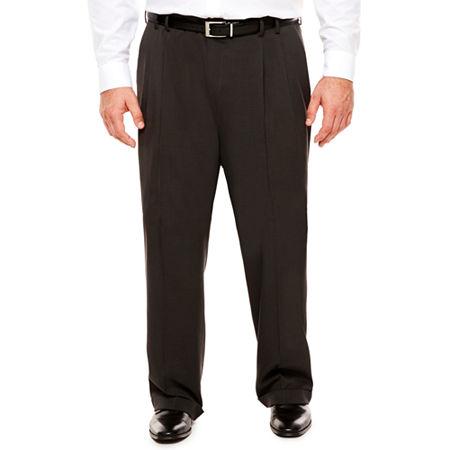 Men's Van Heusen Traveler Stretch Pleated Straight-Leg Dress Pant- Big and Tall, 34 38, Black