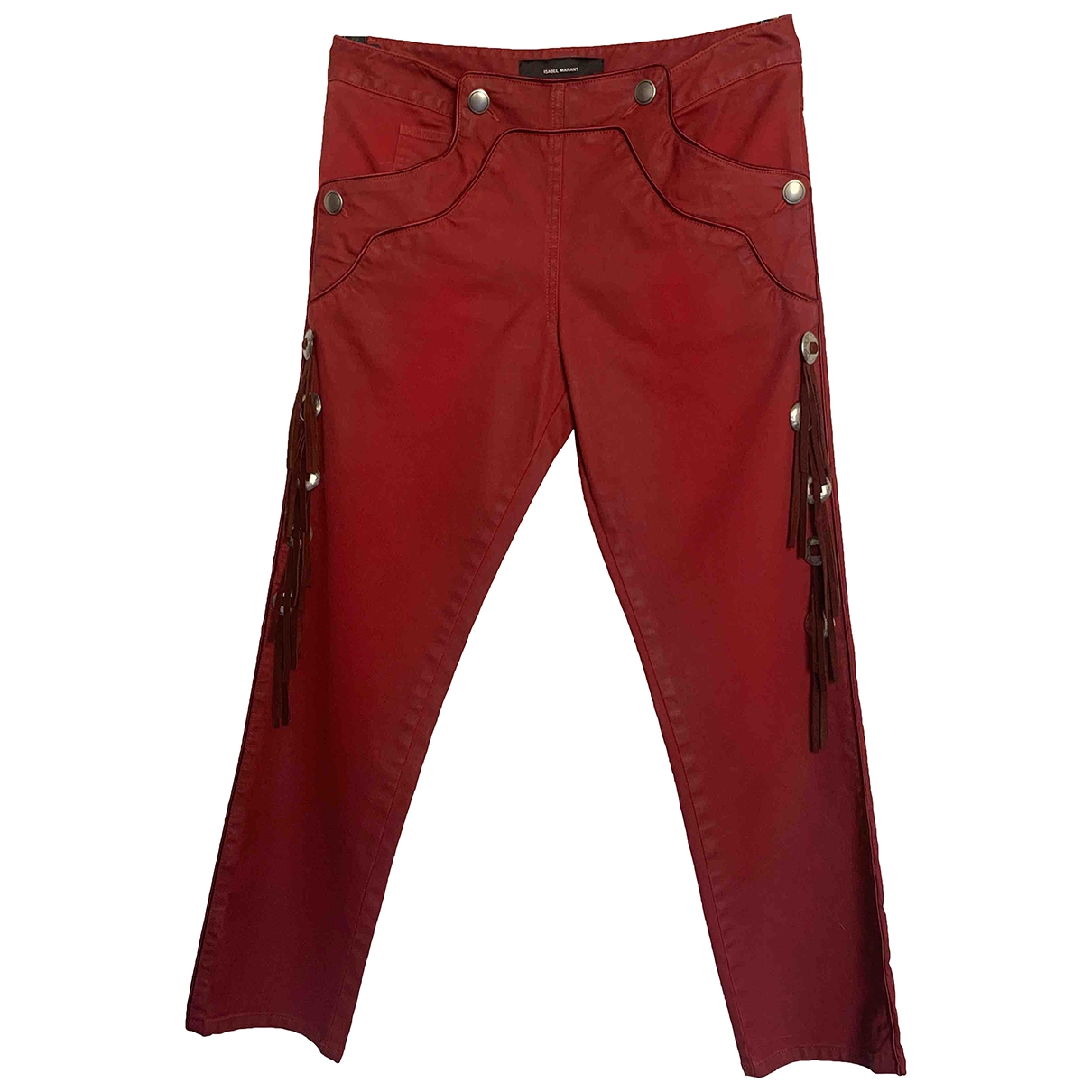 Isabel Marant \N Burgundy Cotton Trousers for Women 38 FR