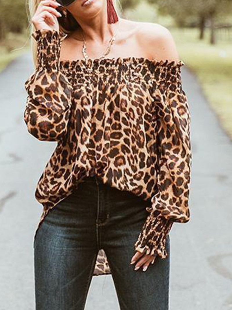 Ericdress Off Shoulder Print Leopard Long Sleeve Mid-Length Blouse