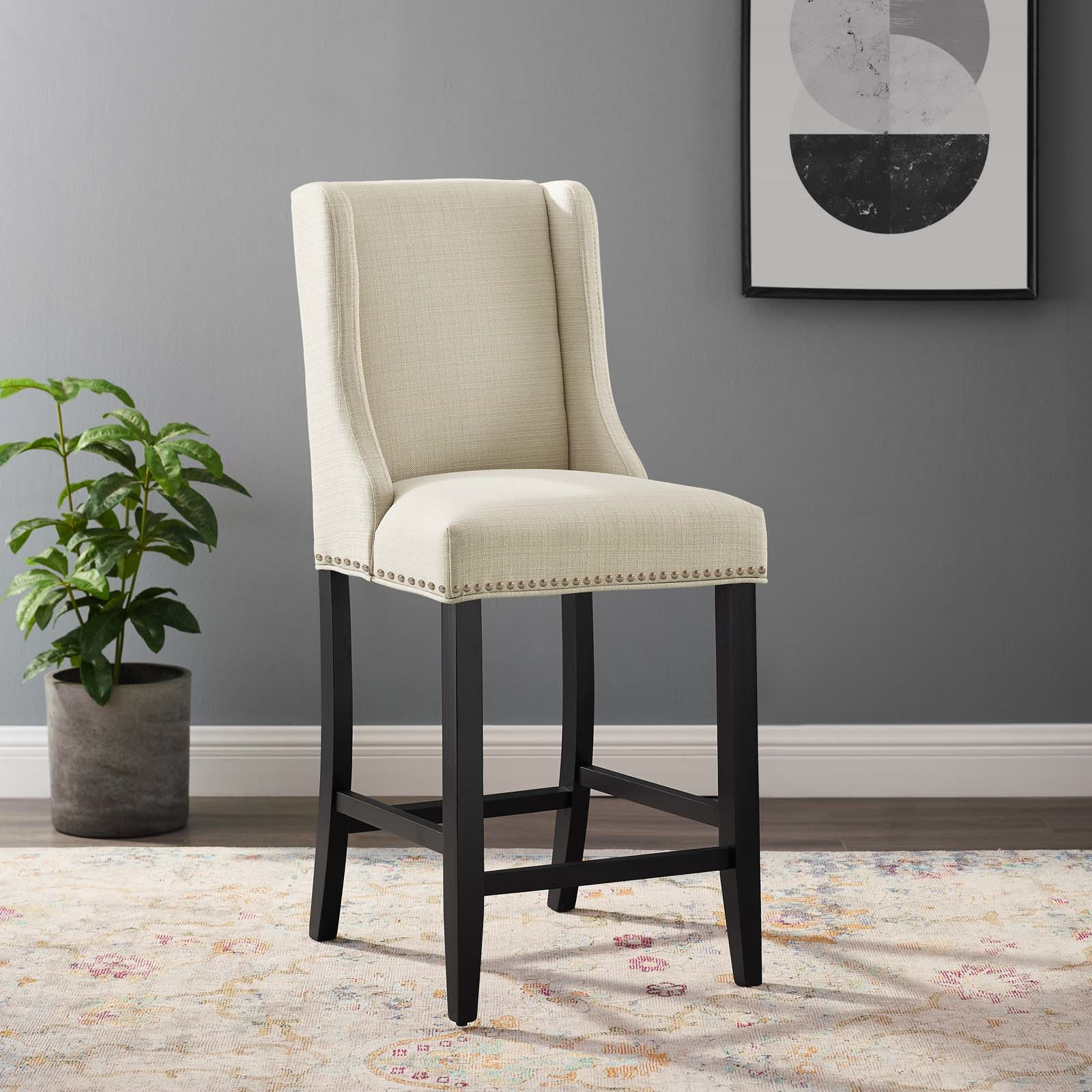 Baron Upholstered Fabric Counter Stool in Beige