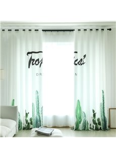 Concise Style Green Plants 3D Painted Custom Semi-blackout Curtains
