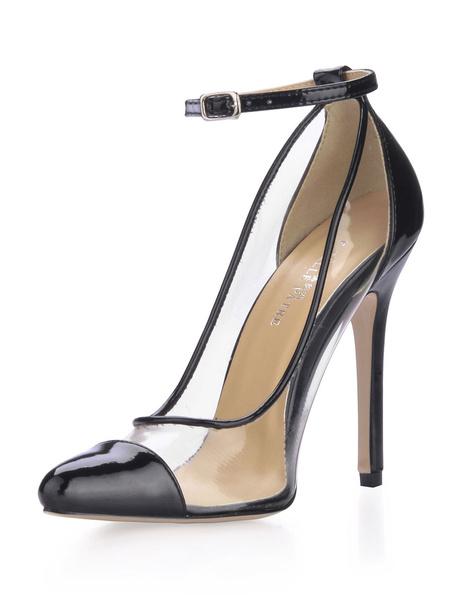 Milanoo Black High Heels Women Cap Toe Sheer PVC Stiletto Heel Ankle Strap Pumps