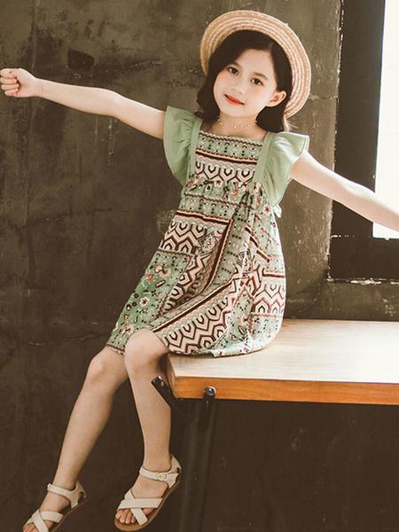 Milanoo Toddler Summer Dress Ruffles Polyester Pattern Printed Girl Dress