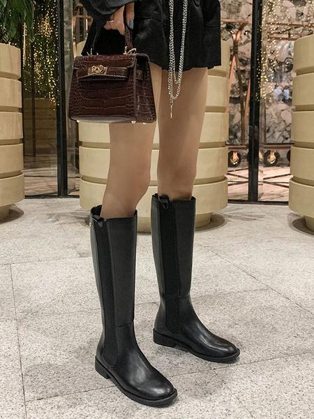 Milanoo Black Riding Boots Women Round Toe Zip Up Flat Wide Calf Boots