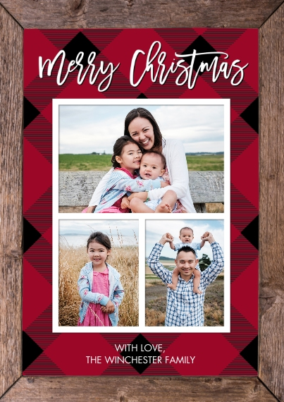 Christmas Photo Cards 5x7 Cards, Premium Cardstock 120lb with Elegant Corners, Card & Stationery -Christmas Plaid Wood Frame by Tumbalina