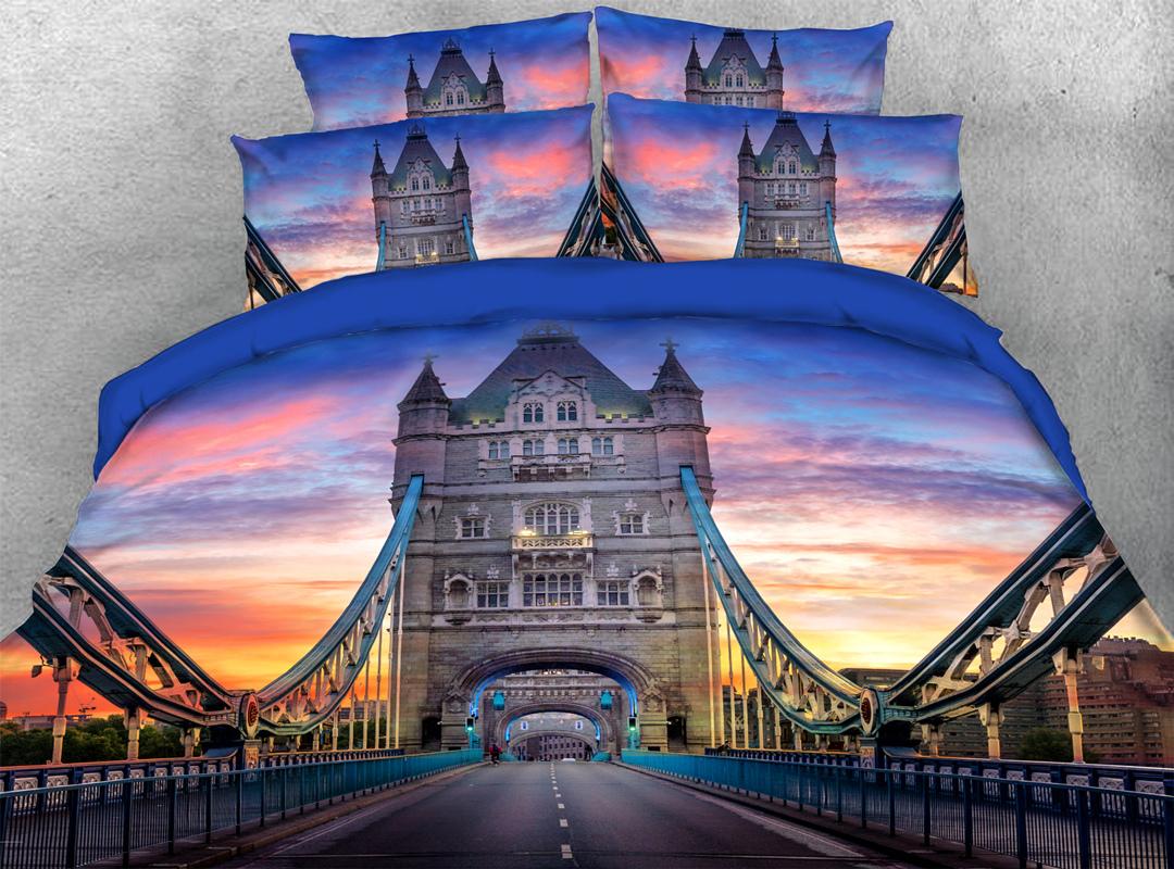 3D Navy Blue Bridge Famous Sights 4Pcs Soft Duvet Cover Set with Zipper Ties