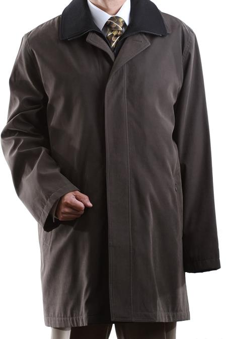 Cianni Men's Brown Collared Single Breasted Waterproof Raincoat