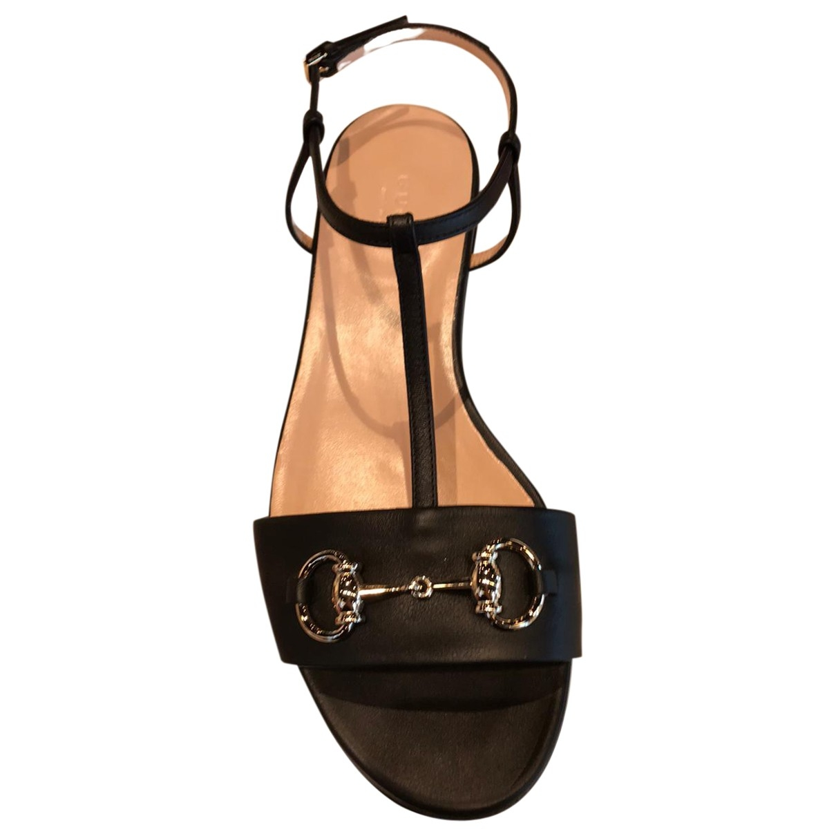 Gucci Marmont Black Leather Sandals for Women 37 EU