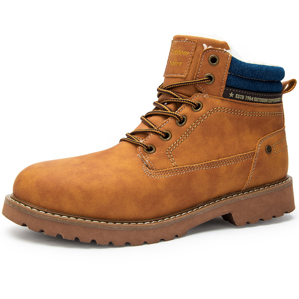 Men Outdoor Work Style Warm Plush Lining Non Slip Ankle Boots