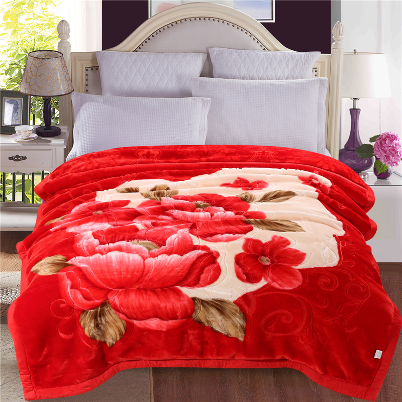 Bright Red Peonies Blossom Printed Plush Flannel Fleece Bed Blankets
