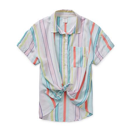 Arizona Little & Big Girls Short Sleeve Button-Down Shirt, X-large (16) , Blue