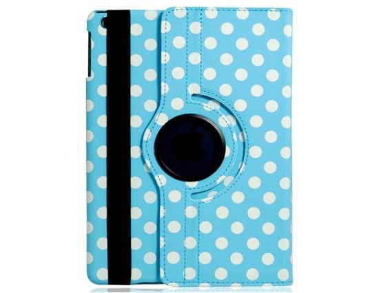 Polka Dot Print 360-Degree Rotation Faux Leather Flip Case with Stand for iPad Air -Blue